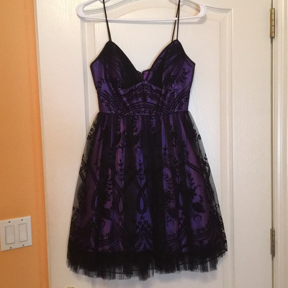 Dresses Purple And Black Spaghetti Strap Homecoming Dress Poshmark